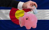 финансирования евро в богатые свинка банка флаг американского государства коло — Стоковое фото