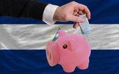 Finanziamento euro in rich piggy banca nazionale bandiera del nicaragua — Foto Stock