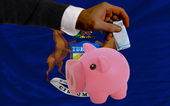 Funding euro into piggy rich bank flag of american state of mich — Stock Photo