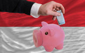 Funding euro into piggy rich bank national flag of indonesia — Stock Photo