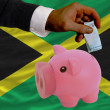 Funding euro into piggy rich bank national flag of jamaica - Stock Photo