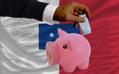 Funding euro into piggy rich bank national flag of of francevil — Stock Photo