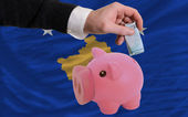 финансирование евро в богатые свинка банка национальный флаг косово — Стоковое фото