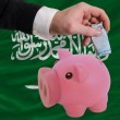 Stock Photo: Funding euro into piggy rich bank national flag of of saudi ara