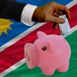 Funding euro into piggy rich bank national flag of namibia - Stock Photo
