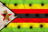 Bandera nacional estilizada de zimbabwe con flores gerbera — Foto de Stock