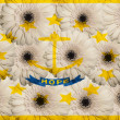 Stylized  flag of american state of rhode island    with gerbera — Stock Photo