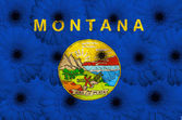 Stylized flag of american state of montana with gerbera flow — Stock Photo