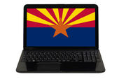 Laptop computer with flag of american state of arizona — Stock Photo