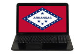 Computer portatile con flag di stato americano dell'arkansas — Foto Stock