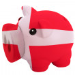 Piggy rich bank in colors national flag of denmark for savin — Stock Photo #24978777