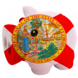 Piggy rich bank in colors  flag of american state of florida — Stock Photo