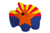 Piggy rich bank in colors flag of american state of arizona — Stock Photo