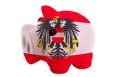 Piggy rich bank in colors national flag of austria for savin — Stock Photo