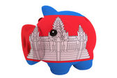 Piggy rich bank in colors national flag of cambodia for savi — Stock Photo