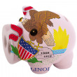 Piggy rich bank in colors flag of american state of illinois — Stock Photo #24980921