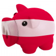 Piggy rich bank in colors  national flag of latvia    for saving — Stock Photo