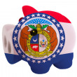 Piggy rich bank in colors  flag of american state of missouri — Stock Photo