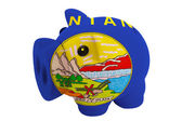Piggy rich bank in colors flag of american state of montana — Stock Photo