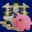 Royalty-Free Stock Photo: Piggy rich bank and  flag of american state of connecticut