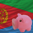 Stock Photo: Piggy rich bank and national flag of of eritrea