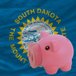Piggy rich bank and  flag of american state of south dakota — Stock Photo