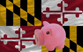 Piggy rich bank and flag of american state of maryland — Stock Photo