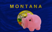 Piggy rich bank and flag of american state of montana — Stock Photo