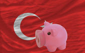 Piggy rich bank and national flag of turkey — Stock Photo