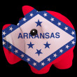 Piggy rich bank in colors flag of american state of arkansas   f - Stock Photo