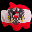 Piggy rich bank in colors national flag of austria   for saving - Stock Photo