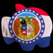 Piggy rich bank in colors flag of american state of missouri   f — Stock Photo