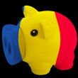 Stock Photo: Piggy rich bank in colors national flag of romanifor saving