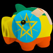 Bankrupt piggy rich bank in colors of national flag of ethiopia — Stock Photo