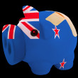 Bankrupt piggy rich bank in colors of national flag of new zeala — Stock Photo