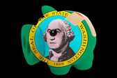 Bankrupt piggy rich bank in colors of flag of american state of — Stock Photo