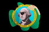 Fallimento banca ricco salvadanaio nei colori della bandiera dello stato americano del — Foto Stock