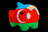 Bankrupt piggy rich bank in colors of national flag of azerbaija — Stock Photo
