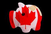 Fallimento banca ricco salvadanaio nei colori della bandiera nazionale del canada — Foto Stock