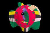 Fallimento banca ricco salvadanaio nei colori della bandiera nazionale della dominica — Foto Stock