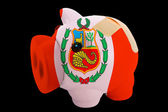 Bankrupt piggy rich bank in colors of national flag of peru c — Stock Photo