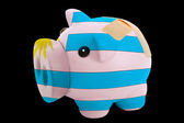 Bankrupt piggy rich bank in colors of national flag of uruguay — Stock Photo