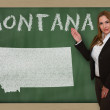 Stock Photo: Teacher showing map of montanon blackboard