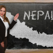Stock Photo: Teacher showing map of nepal on blackboard