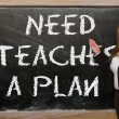 Teacher showing Need teaches a plan on blackboard — Stock Photo #25841701