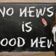 Teacher showing No news is good news on blackboard — Stock Photo #25842325