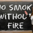 Teacher showing No smoke without fire on blackboard — Stock Photo #25842469