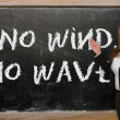 Teacher showing No wind, no waves on blackboard — Stock Photo #25842589