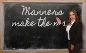 Mœurs montrant enseignant fait l'homme sur le tableau noir — Photo