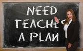 Professor, mostrando a necessidade ensina um plano no quadro-negro — Fotografia Stock